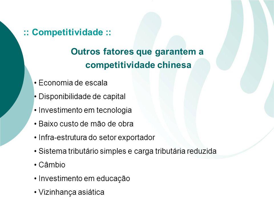 Outros fatores que garantem a competitividade chinesa