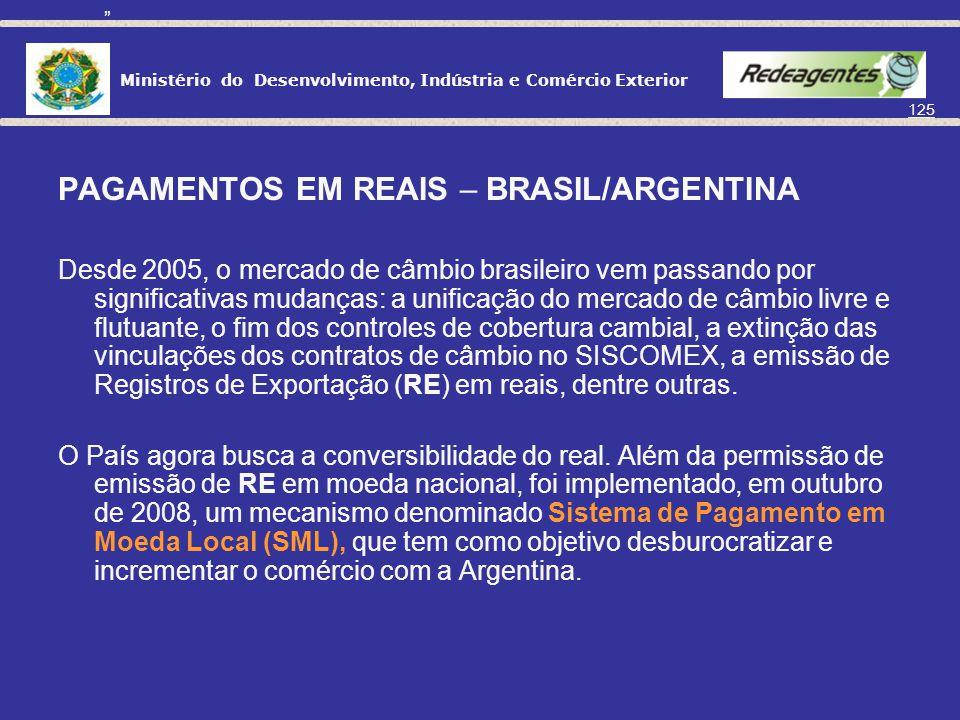 PAGAMENTOS EM REAIS – BRASIL/ARGENTINA