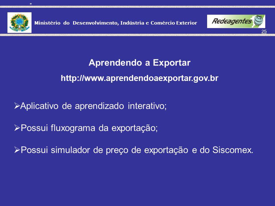 Aplicativo de aprendizado interativo; Possui fluxograma da exportação;