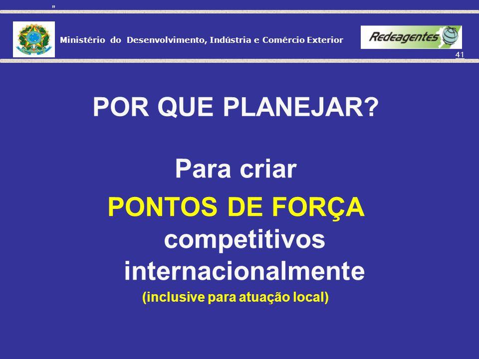 PONTOS DE FORÇA competitivos internacionalmente