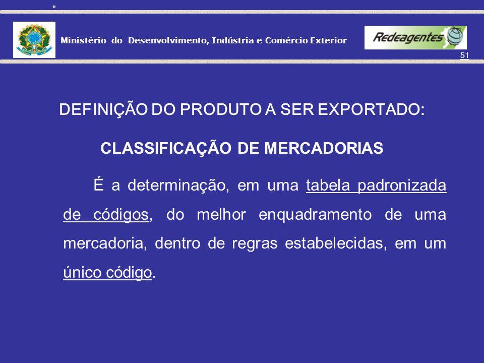 DEFINIÇÃO DO PRODUTO A SER EXPORTADO: CLASSIFICAÇÃO DE MERCADORIAS O que é classificação de mercadorias