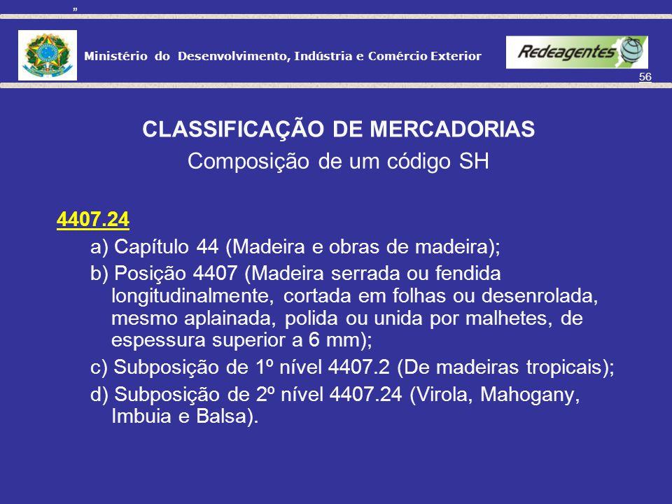 CLASSIFICAÇÃO DE MERCADORIAS