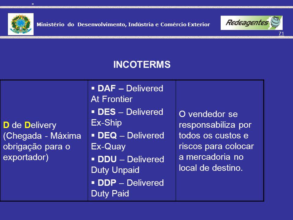 INCOTERMS DAF – Delivered At Frontier DES – Delivered Ex-Ship