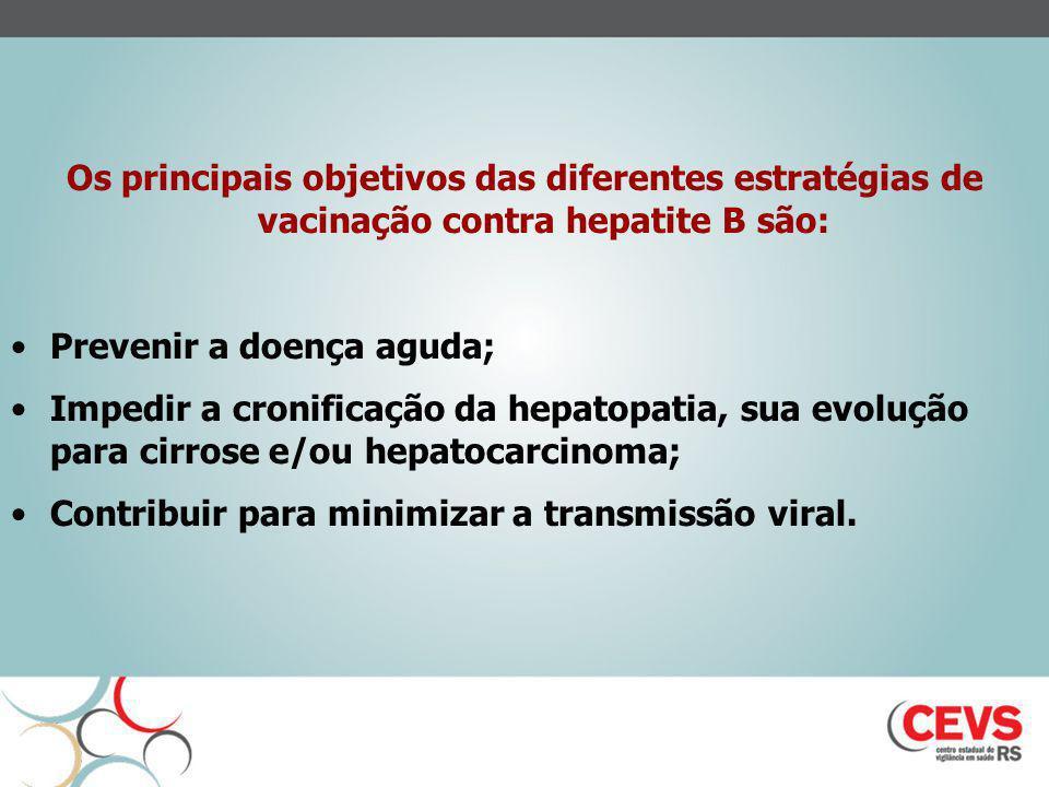 Os principais objetivos das diferentes estratégias de vacinação contra hepatite B são: