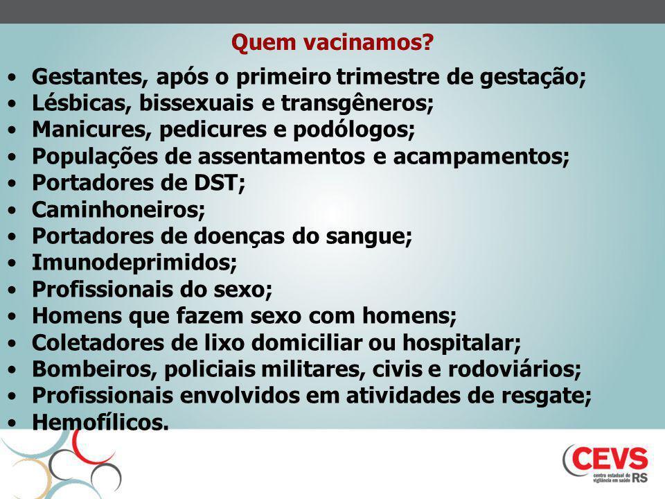 Quem vacinamos Gestantes, após o primeiro trimestre de gestação; Lésbicas, bissexuais e transgêneros;