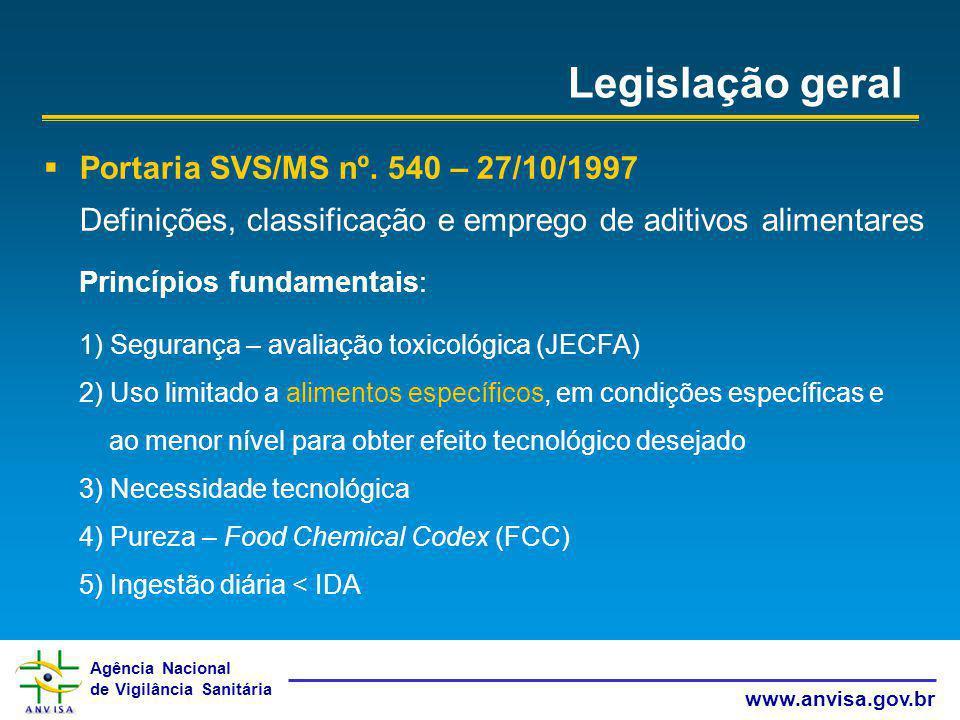 Legislação geral Portaria SVS/MS nº. 540 – 27/10/1997
