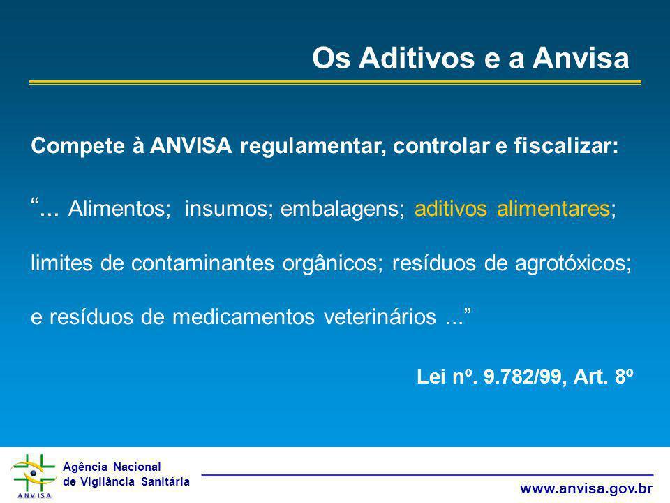 Os Aditivos e a Anvisa Compete à ANVISA regulamentar, controlar e fiscalizar: ... Alimentos; insumos; embalagens; aditivos alimentares;