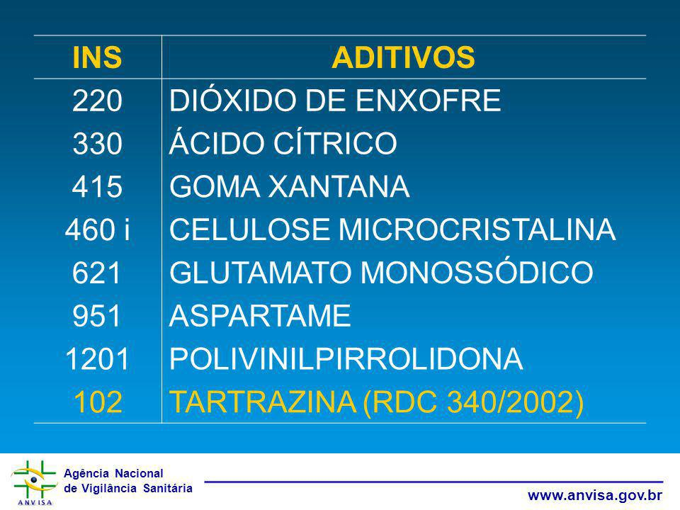 CELULOSE MICROCRISTALINA 621 GLUTAMATO MONOSSÓDICO 951 ASPARTAME 1201