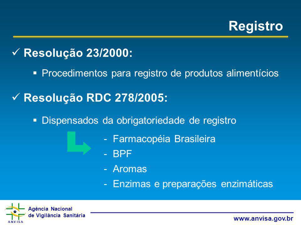 Registro Resolução 23/2000: Resolução RDC 278/2005: