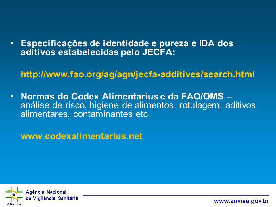 Especificações de identidade e pureza e IDA dos aditivos estabelecidas pelo JECFA: