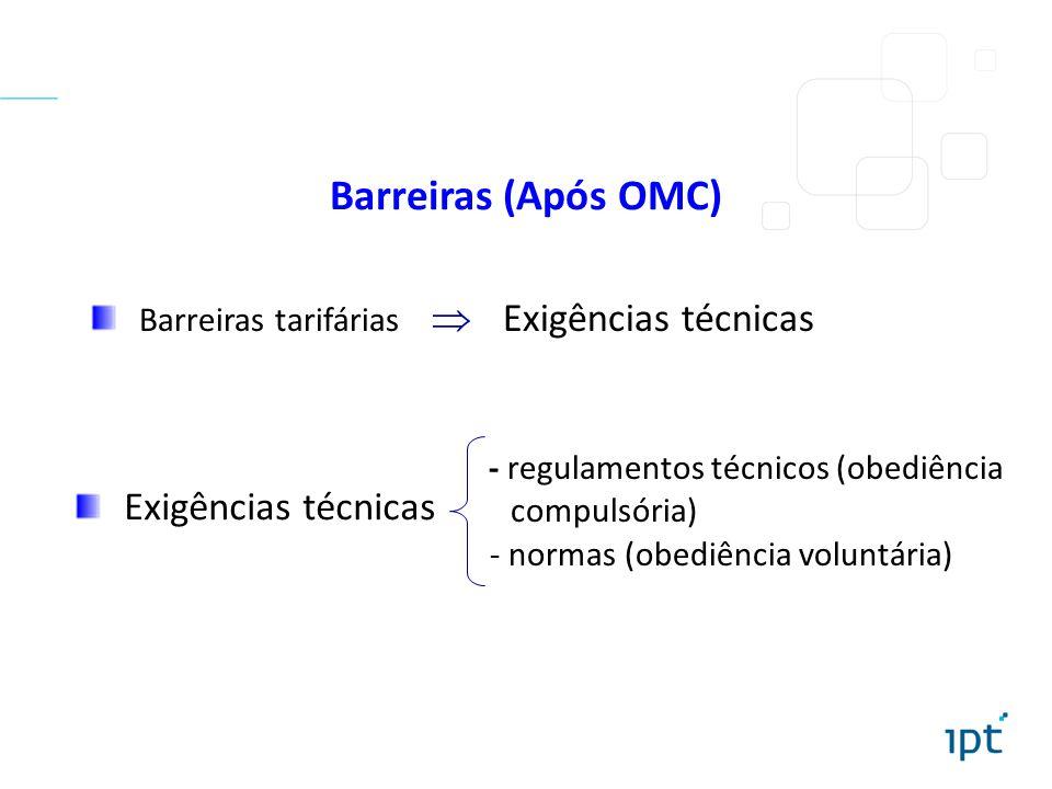 Barreiras (Após OMC) Barreiras tarifárias  Exigências técnicas