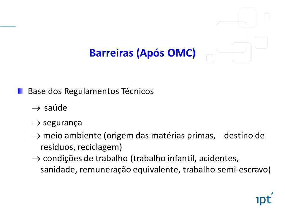 Barreiras (Após OMC) Base dos Regulamentos Técnicos saúde segurança