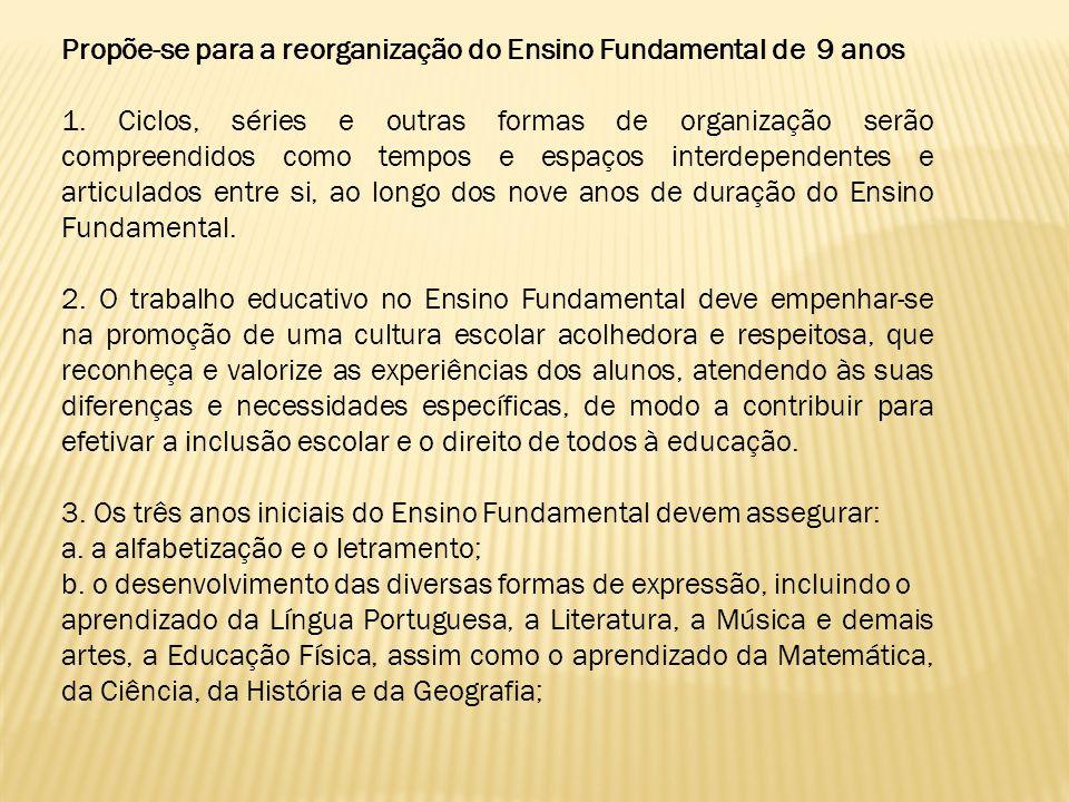 Propõe-se para a reorganização do Ensino Fundamental de 9 anos