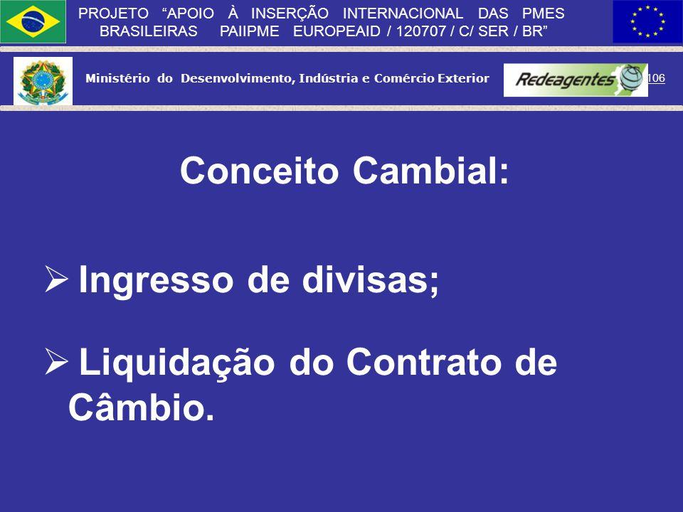 Conceito Cambial: Ingresso de divisas; Liquidação do Contrato de Câmbio.