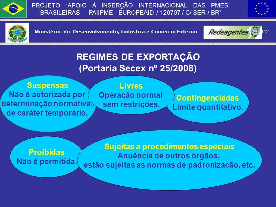 REGIMES DE EXPORTAÇÃO (Portaria Secex nº 25/2008)