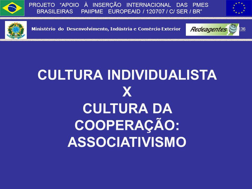 CULTURA INDIVIDUALISTA X CULTURA DA COOPERAÇÃO: ASSOCIATIVISMO