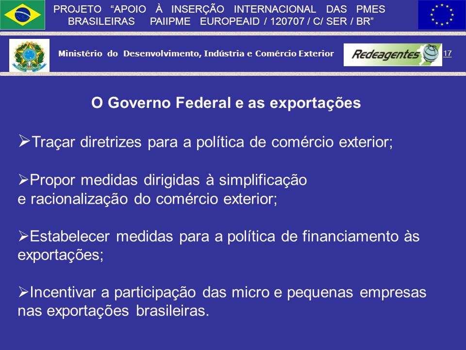 O Governo Federal e as exportações