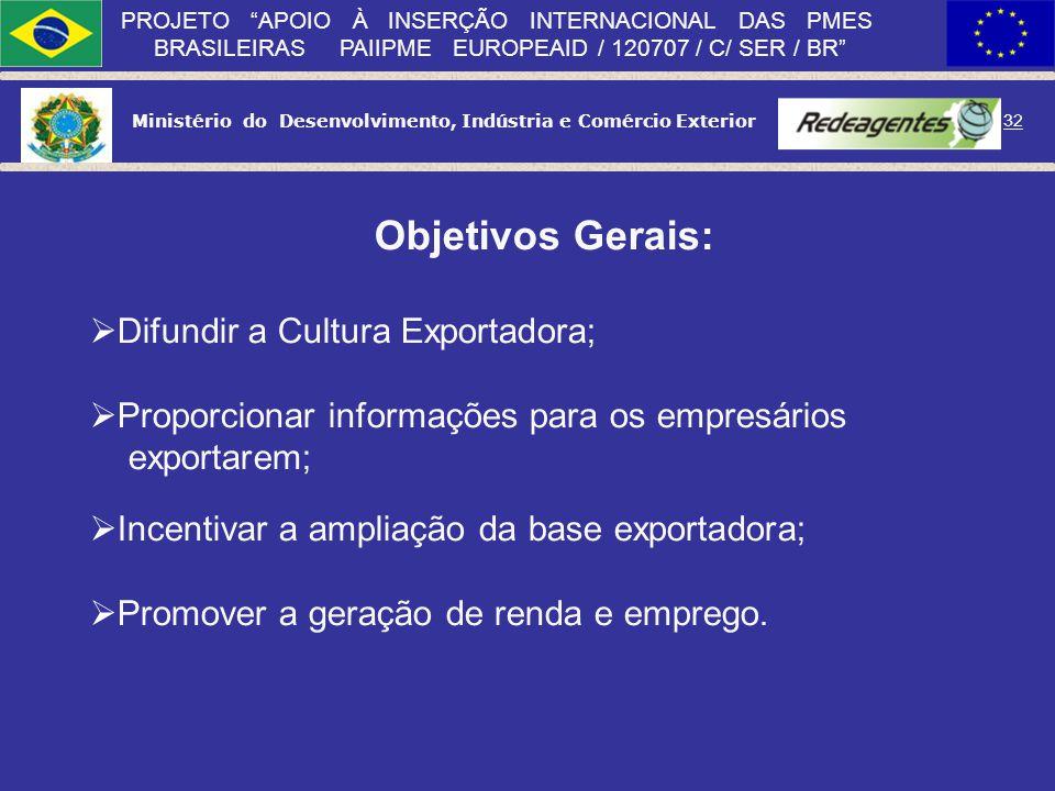 Objetivos Gerais: Difundir a Cultura Exportadora;