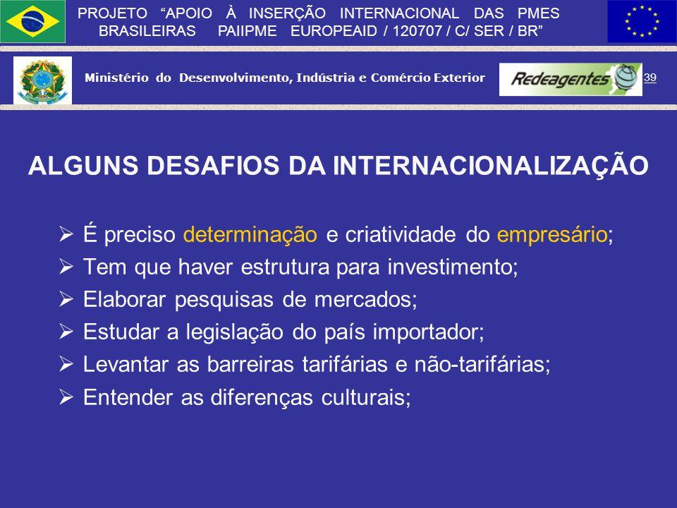 ALGUNS DESAFIOS DA INTERNACIONALIZAÇÃO