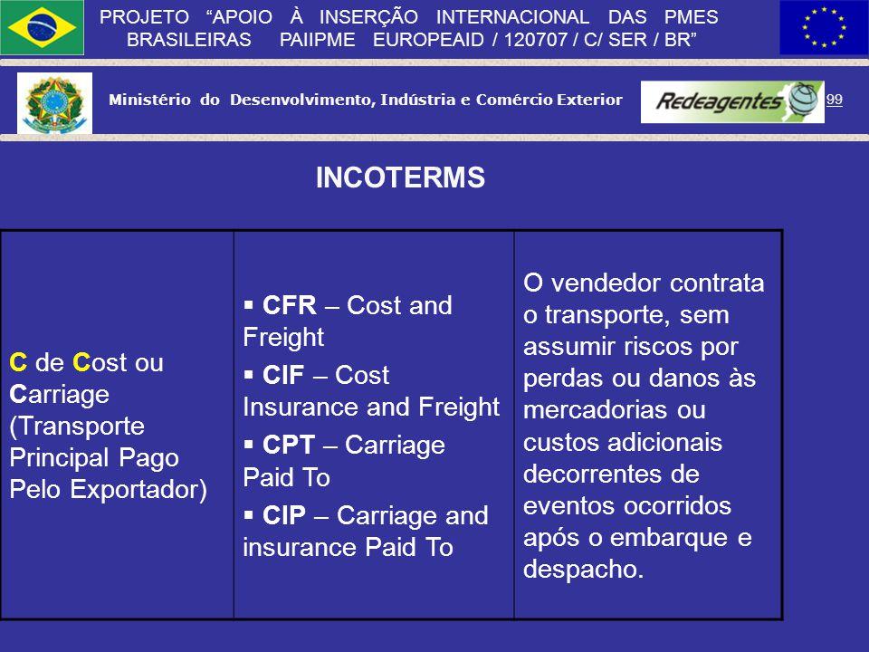 INCOTERMS C de Cost ou Carriage (Transporte Principal Pago Pelo Exportador) CFR – Cost and Freight.