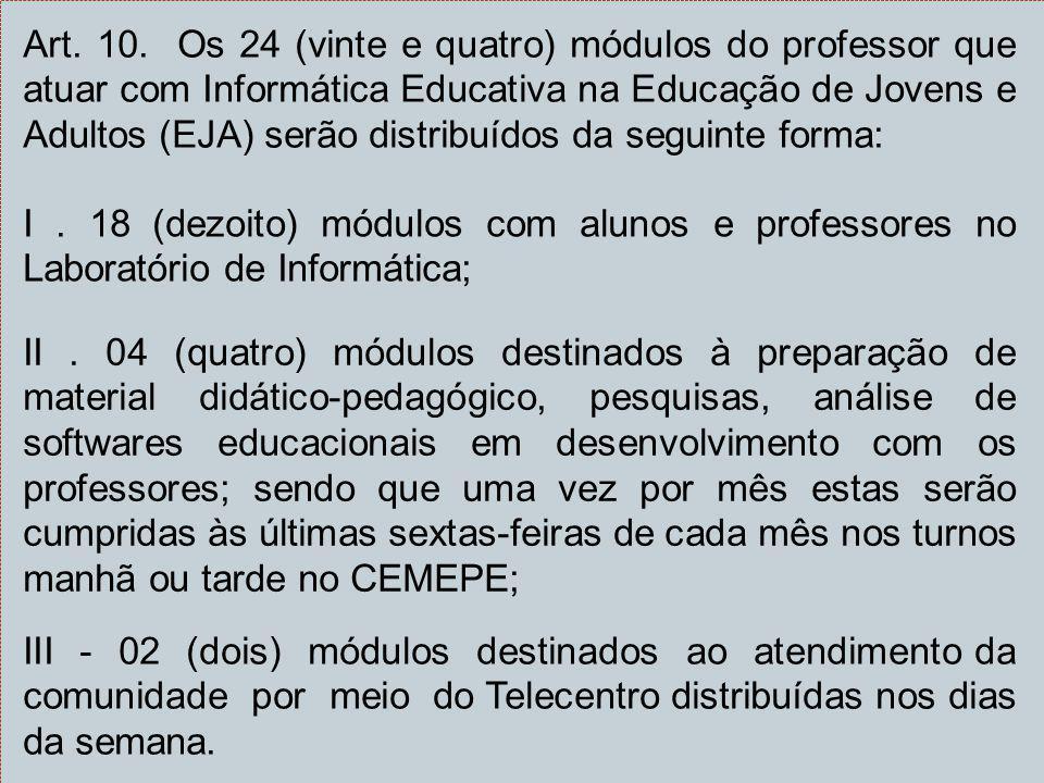 Art. 10. Os 24 (vinte e quatro) módulos do professor que atuar com Informática Educativa na Educação de Jovens e Adultos (EJA) serão distribuídos da seguinte forma:
