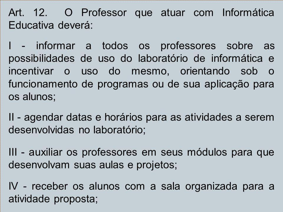 Art. 12. O Professor que atuar com Informática Educativa deverá: