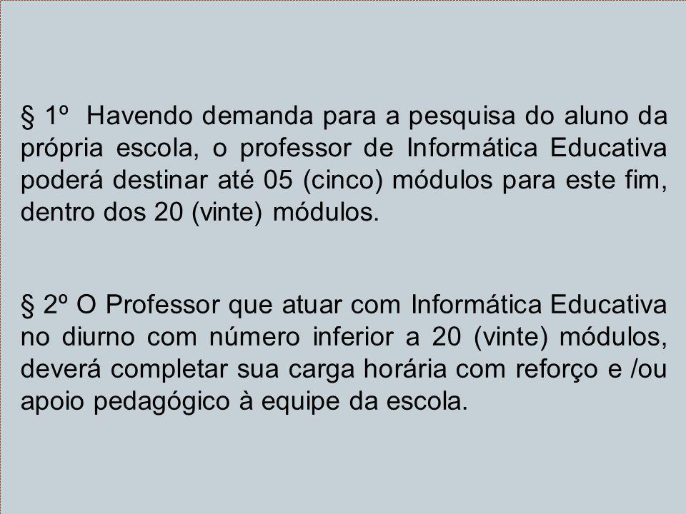 § 1º Havendo demanda para a pesquisa do aluno da própria escola, o professor de Informática Educativa poderá destinar até 05 (cinco) módulos para este fim, dentro dos 20 (vinte) módulos.