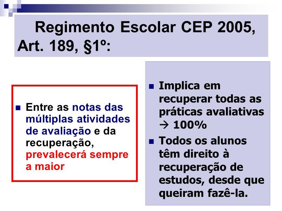 Regimento Escolar CEP 2005, Art. 189, §1º: