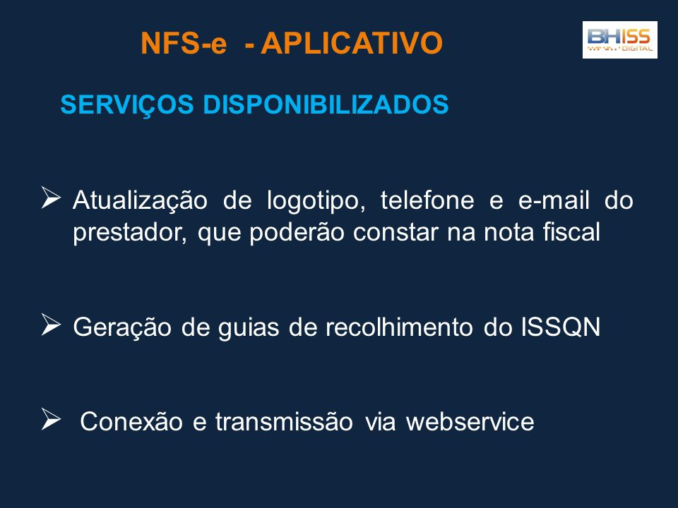 NFS-e - APLICATIVO SERVIÇOS DISPONIBILIZADOS
