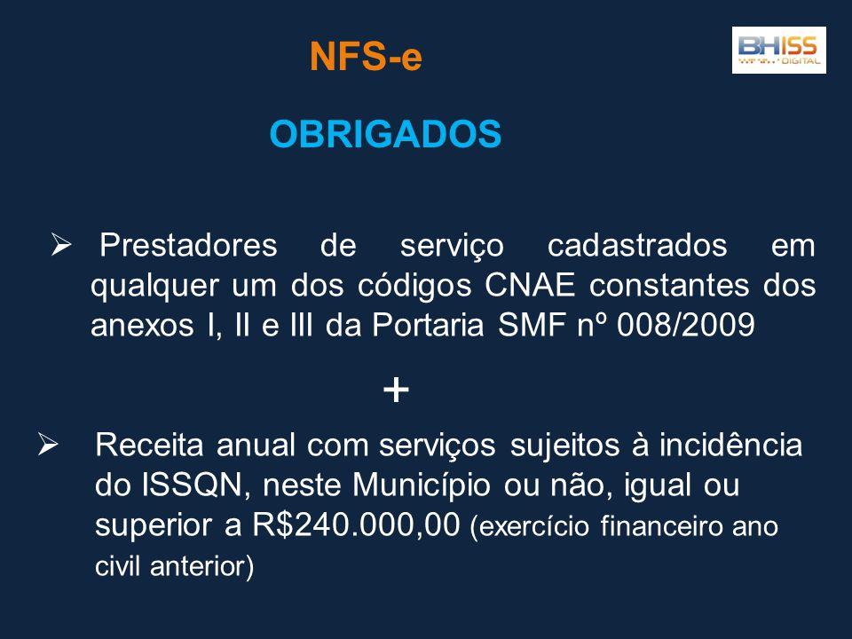 NFS-e OBRIGADOS. Prestadores de serviço cadastrados em qualquer um dos códigos CNAE constantes dos anexos I, II e III da Portaria SMF nº 008/2009.
