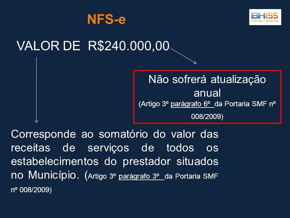 NFS-e VALOR DE R$240.000,00 Não sofrerá atualização anual