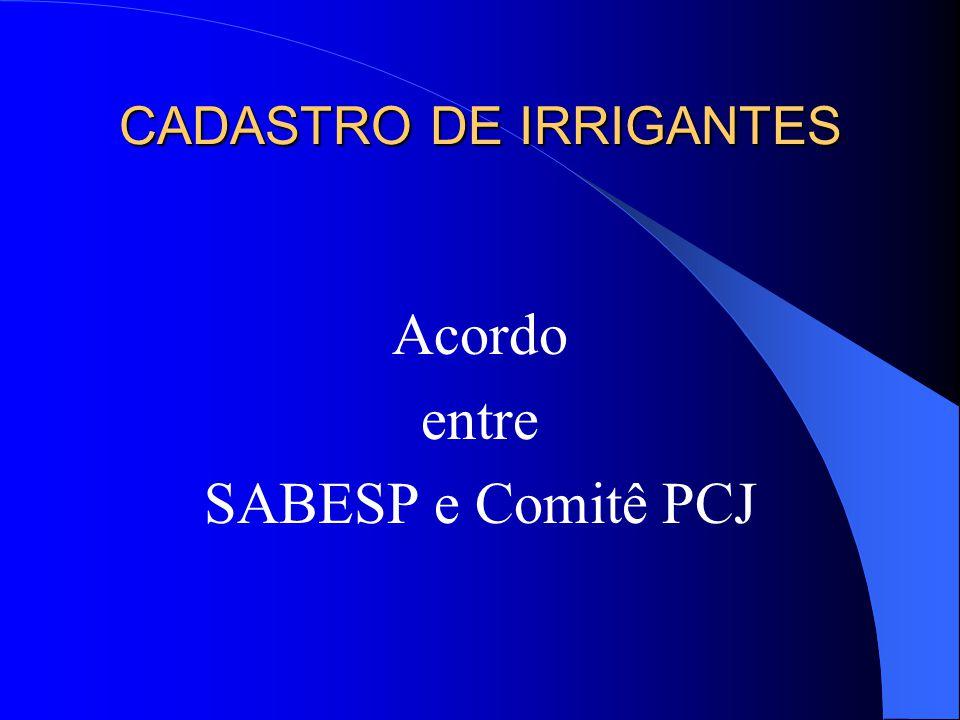 CADASTRO DE IRRIGANTES