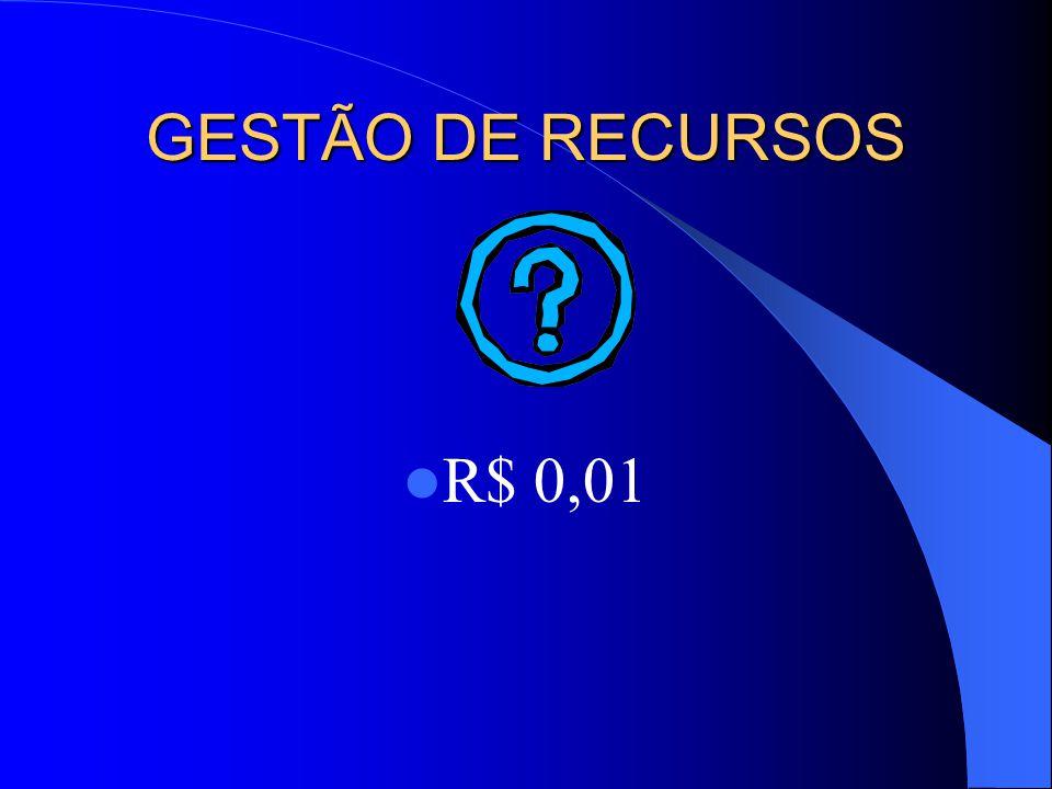 GESTÃO DE RECURSOS R$ 0,01