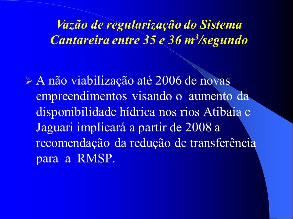Vazão de regularização do Sistema Cantareira entre 35 e 36 m3/segundo