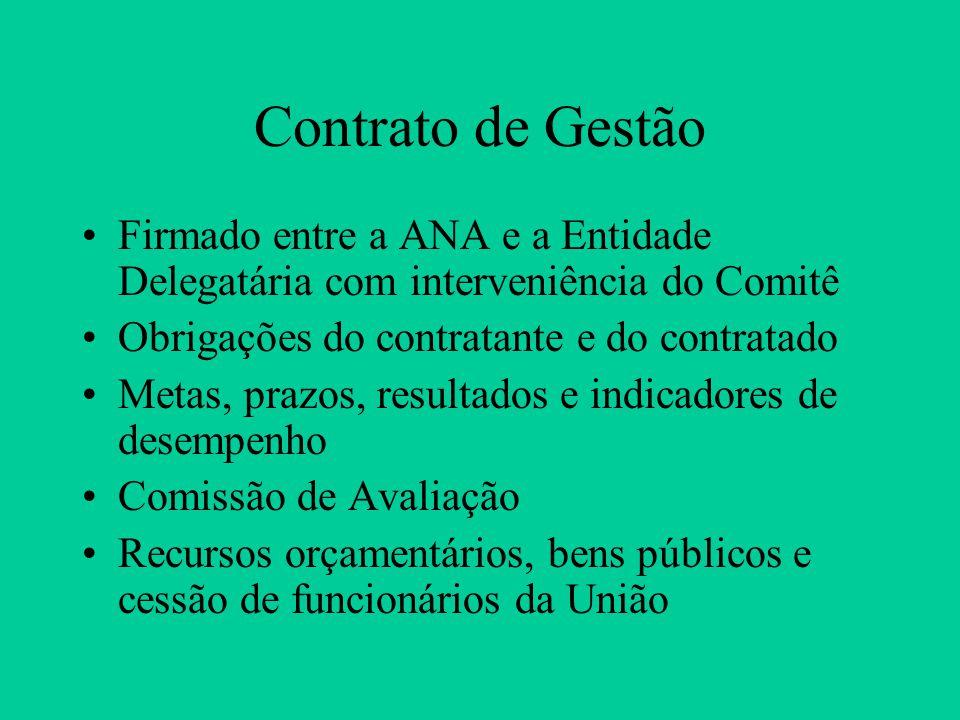 Contrato de Gestão Firmado entre a ANA e a Entidade Delegatária com interveniência do Comitê. Obrigações do contratante e do contratado.