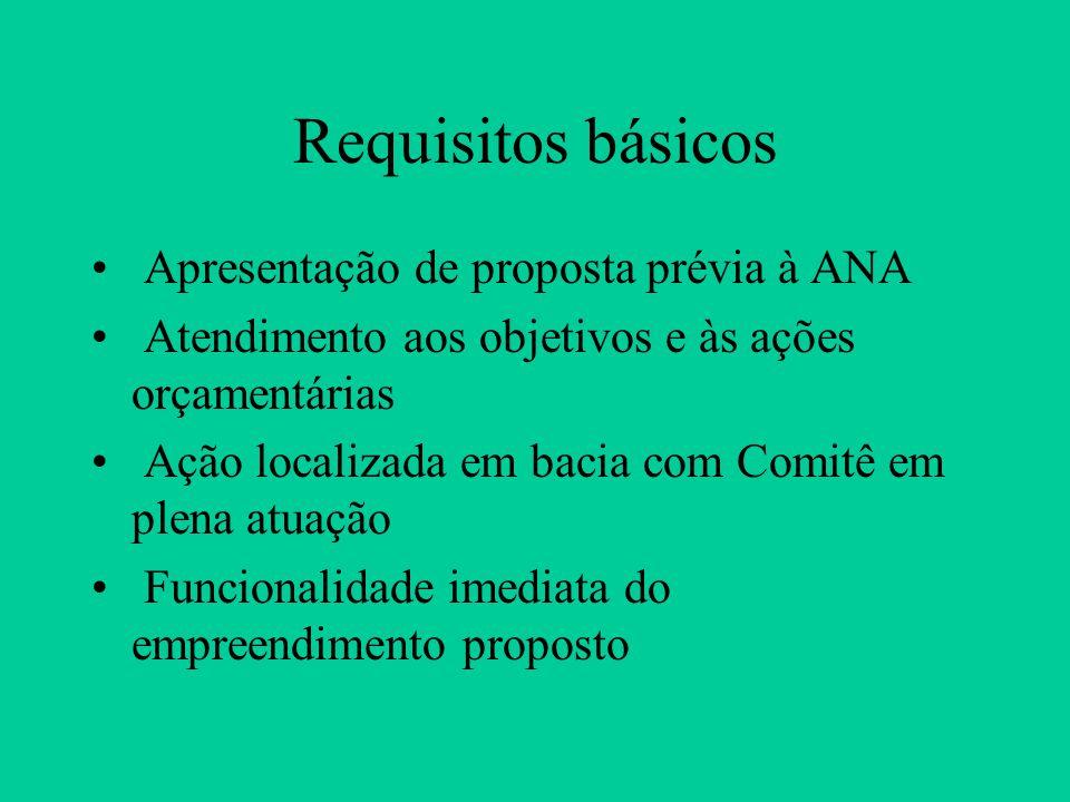 Requisitos básicos Apresentação de proposta prévia à ANA