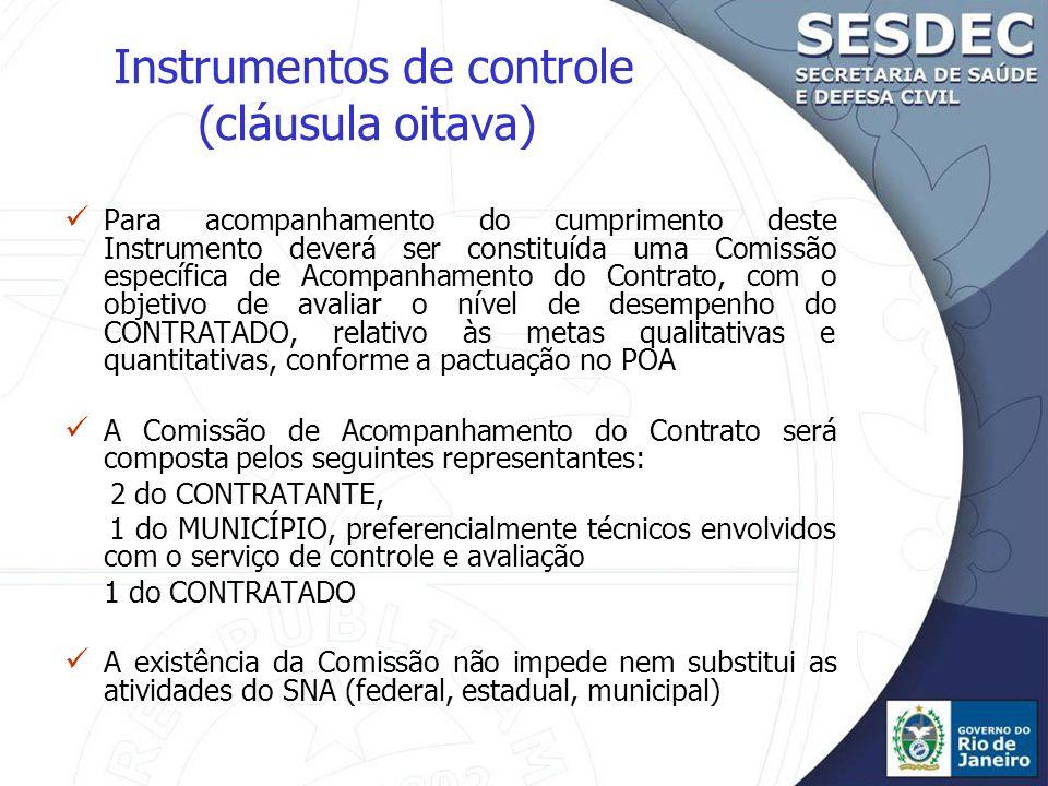 Instrumentos de controle (cláusula oitava)