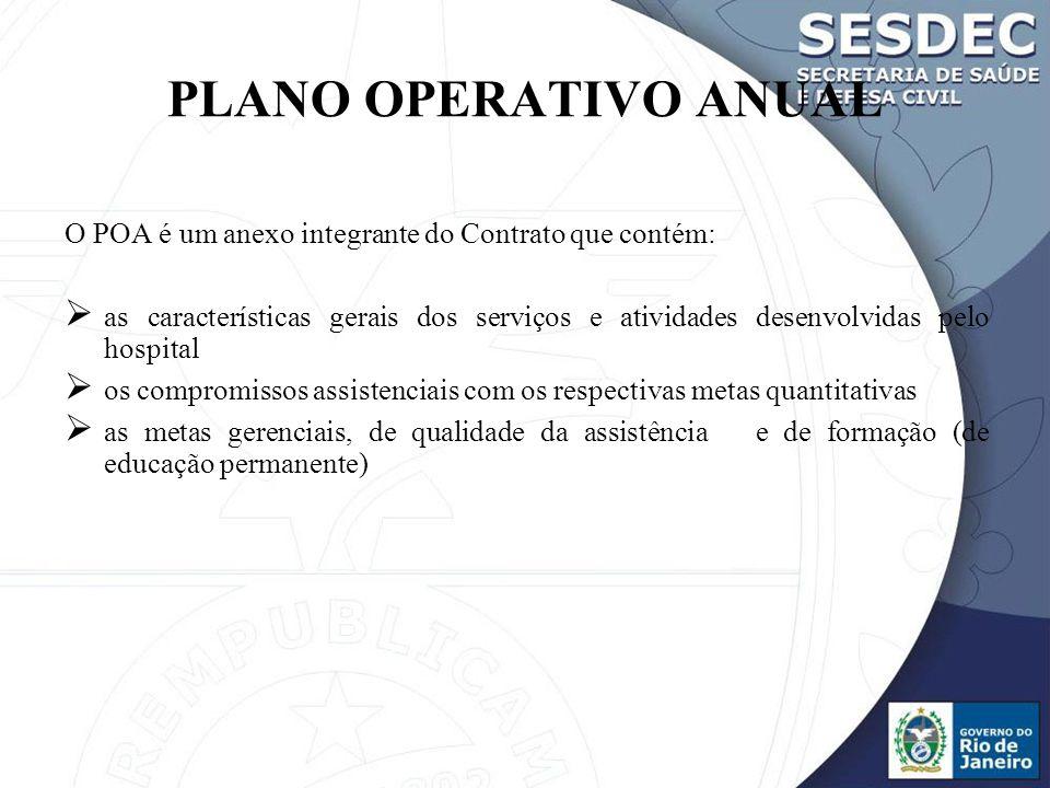 PLANO OPERATIVO ANUAL O POA é um anexo integrante do Contrato que contém: