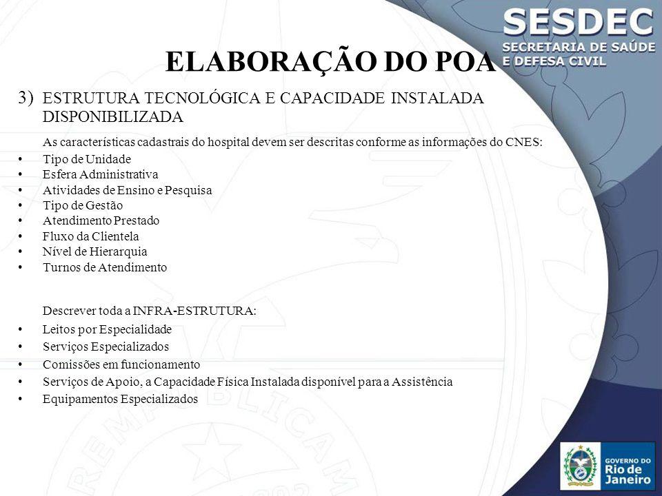 ELABORAÇÃO DO POA 3) ESTRUTURA TECNOLÓGICA E CAPACIDADE INSTALADA DISPONIBILIZADA.