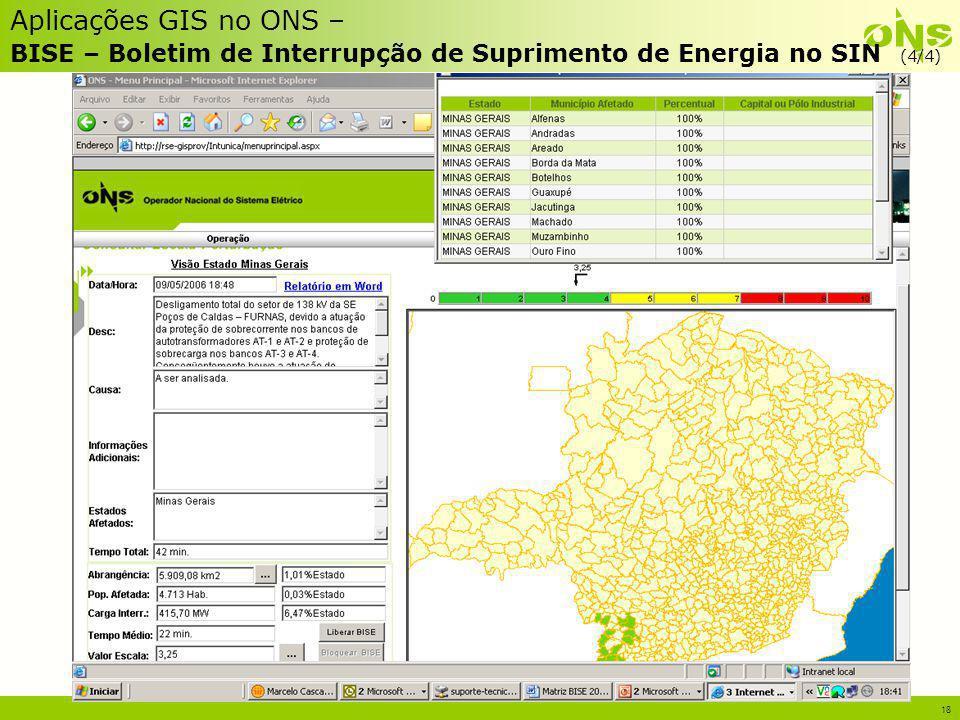Aplicações GIS no ONS – BISE – Boletim de Interrupção de Suprimento de Energia no SIN (4/4)