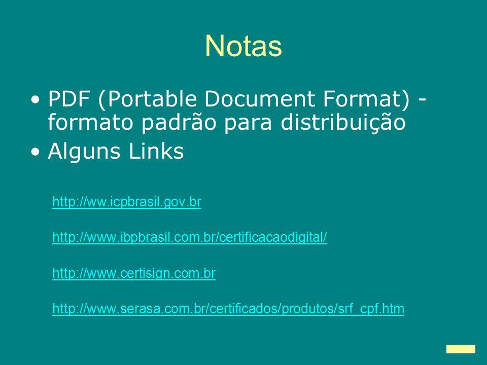 Notas PDF (Portable Document Format) - formato padrão para distribuição. Alguns Links. http://ww.icpbrasil.gov.br.