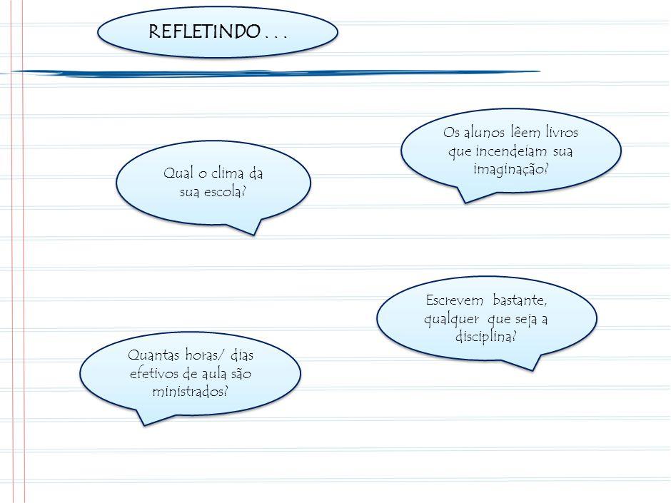 REFLETINDO . . . Quanto tempo os alunos passam ouvindo o professor falar ou ditar Quanto tempo são ouvidos durante as aulas