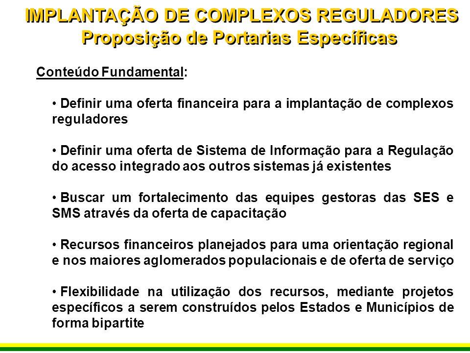 IMPLANTAÇÃO DE COMPLEXOS REGULADORES