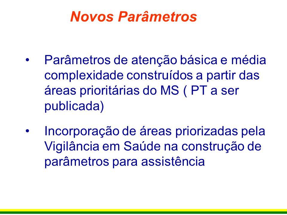 Novos Parâmetros Parâmetros de atenção básica e média complexidade construídos a partir das áreas prioritárias do MS ( PT a ser publicada)