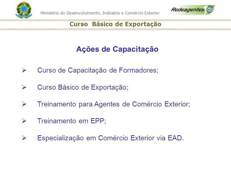 Ações de Capacitação Curso de Capacitação de Formadores;