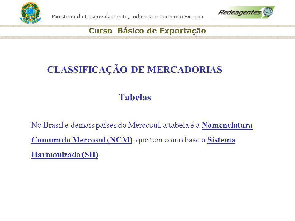 CLASSIFICAÇÃO DE MERCADORIAS Tabelas