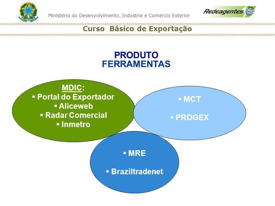 PRODUTO FERRAMENTAS MDIC: Portal do Exportador Aliceweb MCT