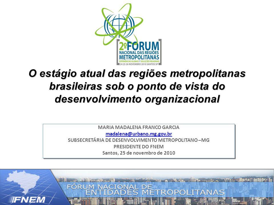 O estágio atual das regiões metropolitanas brasileiras sob o ponto de vista do desenvolvimento organizacional