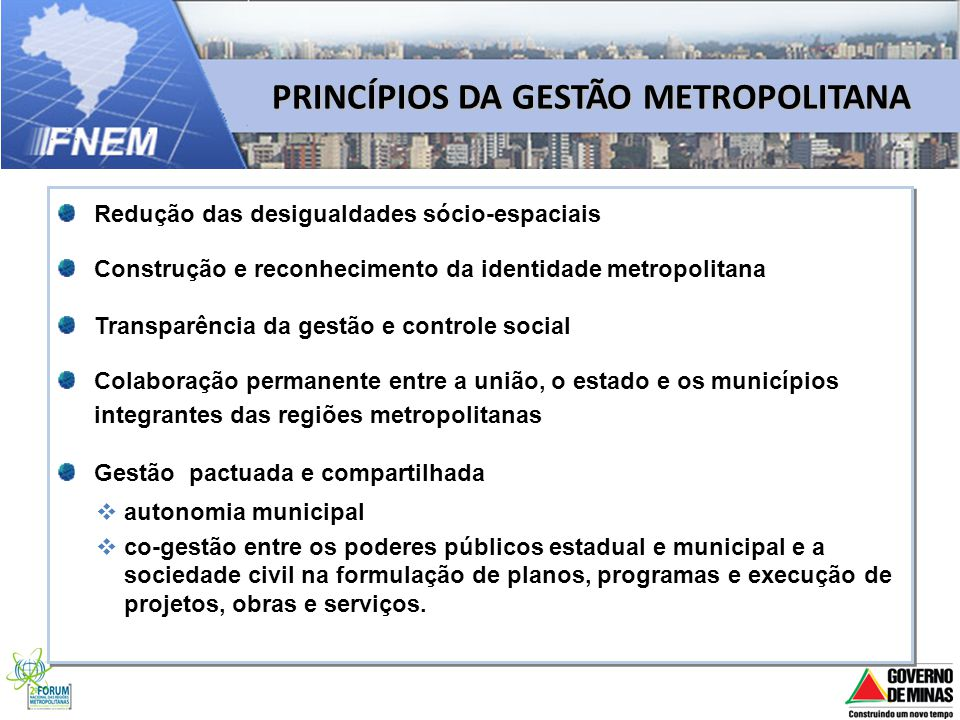 PRINCÍPIOS DA GESTÃO METROPOLITANA