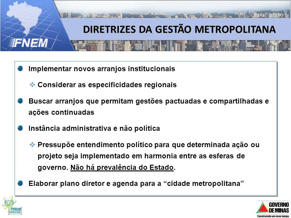 DIRETRIZES DA GESTÃO METROPOLITANA